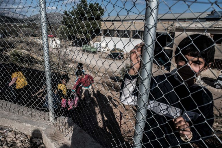 In the background: the main centre of VIAL where refugees and migrants get medical care and have to have their so called interviews to determine if they are travel to athens or not.