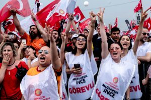Istanbul, Turkey, June 23, 2018 | PHOTO #1  | A group of female CHP supporters are cheering during a speech of CHP's Muharrem Ince at the last large rally in Istanbul prior to the elections. Photo: Joris van Gennip