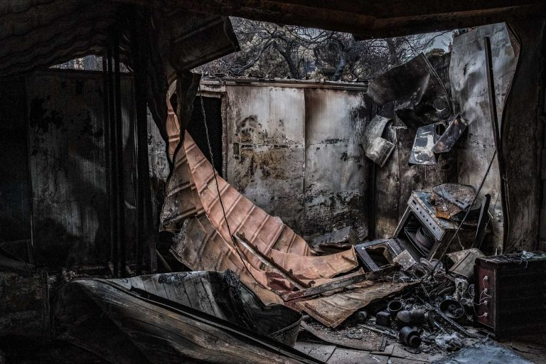 Mati, Athens, Greece, | November 28, 2018 | Photo #7 | The forest fires completely destroyed this home in Mati. Photo: Joris van Gennip