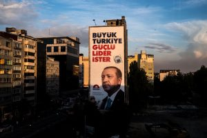 Istanbul, Turkey, June 21, 2018 | PHOTO #6  | A giant political banner portraying Erdogan is seen on a building in Istanbul. Photo: Joris van Gennip